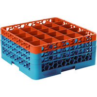 Carlisle RG25-3C412 OptiClean 25 Compartment Orange Color-Coded Glass Rack with 3 Extenders