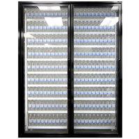 Styleline CL3080-2020 20//20 Plus 30 inch x 80 inch Walk-In Cooler Merchandiser Doors with Shelving - Satin Black, Left Hinge - 2/Set