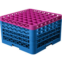 Carlisle RG49-5C414 OptiClean 49 Compartment Lavender Color-Coded Glass Rack with 5 Extenders