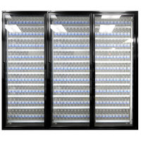 Styleline CL2472-LT Classic Plus 24 inch x 72 inch Walk-In Freezer Merchandiser Doors with Shelving - Satin Black, Right Hinge - 3/Set