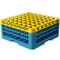 Carlisle RG49-3C411 OptiClean 49 Compartment Yellow Color-Coded Glass Rack with 3 Extenders