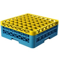 Carlisle RG49-2C411 OptiClean 49 Compartment Yellow Color-Coded Glass Rack with 2 Extenders