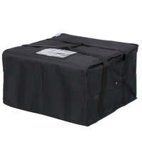 Choice 20 inch x 20 inch x 12 inch Black Soft-Sided Nylon Insulated Deli Tray Bag - Holds (3) 20 inch Deli Trays