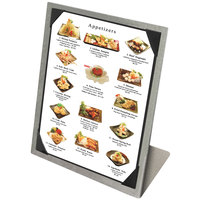 Menu Solutions MTPIX-811 Aluminum Menu Tent with Picture Corners - Brushed Finish - 8 1/2 inch x 11 inch