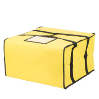 "Choice 20"" x 20"" x 12"" Yellow Soft-Sided Nylon Insulated Pizza Delivery Bag - Holds Up To (6) 16"", (5) 18"", or (4) 20"" Pizza Boxes"