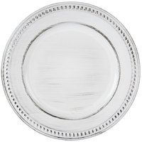The Jay Companies 14 inch Round White Beaded Antique Melamine Charger Plate