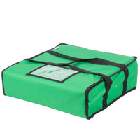 Choice 18 inch x 18 inch x 5 inch Green Soft-Sided Nylon Insulated Pizza Delivery Bag - Holds Up To (2) 16 inch Pizza Boxes or (1) 18 inch Pizza Box