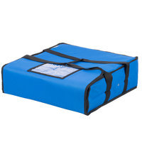 Choice 18 inch x 18 inch x 5 inch Blue Soft-Sided Nylon Insulated Pizza Delivery Bag - Holds Up To (2) 16 inch Pizza Boxes or (1) 18 inch Pizza Box