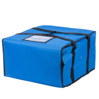 Choice 20 inch x 20 inch x 12 inch Blue Soft-Sided Nylon Insulated Pizza Delivery Bag - Holds Up To (6) 16 inch, (5) 18 inch, or (4) 20 inch Pizza Boxes
