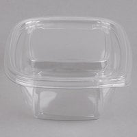 Sabert C15016TR250 Bowl2 16 oz. Clear PETE Square Tamper Evident Bowl with Lid - 250/Case