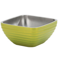 Vollrath 4761930 24 oz. Stainless Steel Double Wall Lemon Lime Square Beehive Serving Bowl