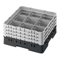 Cambro 9S800110 Black Camrack 9 Compartment 8 1/2 inch Glass Rack