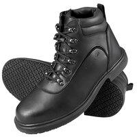 Genuine Grip 7130 Men's Size 10 Medium Width Black Steel Toe Non Slip Leather Boot with Zipper Lock