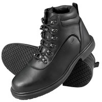Genuine Grip 7130 Men's Size 10.5 Medium Width Black Steel Toe Non Slip Leather Boot with Zipper Lock