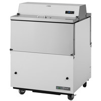 True TMC-34-DS-SS-HC 34 inch Two Sided Milk Cooler with White / Stainless Steel Exterior and Stainless Steel Interior