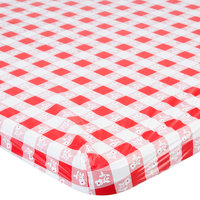 Creative Converting 37488 Stay Put 29 inch x 72 inch Red Gingham Plastic Table Cover