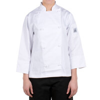 Chef Revival LJ028-XS Knife and Steel Size 2 (XS) White Customizable Ladies Long Sleeve Chef Jacket - Poly-Cotton Blend with Cloth Knot Buttons