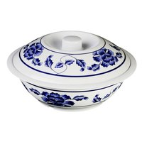 Lotus 75 oz. Round Melamine Serving Bowl with Lid - 10 inch