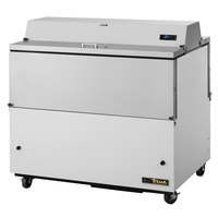 True TMC-49-DS-SS-HC 49 inch Two Sided Milk Cooler with White / Stainless Steel Exterior and Stainless Steel Interior