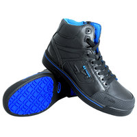 Genuine Grip 5010 Stealth Men's Size 10 Medium Width Black and Blue Laced Non Slip Shoe with Composite Toe and Side Zipper