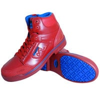 Genuine Grip 5013 Stealth Men's Size 12 Medium Width Red and Blue Laced Non Slip Shoe with Composite Toe and Side Zipper