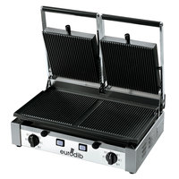 Eurodib PDR3000 20 inch Double Panini Grill with Grooved Plates - 220V, 3000W