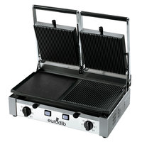 Eurodib PDM3000 20 inch Double Panini Grill with Grooved Top and Smooth Left Bottom - 220V, 3000W