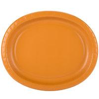 Creative Converting 323387 12 inch x 10 inch Pumpkin Spice Orange Oval Paper Platter - 96/Case