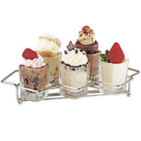 GET 4-82015 Stainless Steel 5 Square Compartment Dessert Caddy - 8 inch x 3 1/2 inch x 3 inch