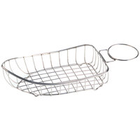 GET 4-80118 Stainless Steel Boat Basket with Condiment Holder - 14 inch x 6 1/4 inch x 3 1/4 inch
