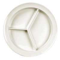 Nustone Melamine 3 Compartment Deep Serving Plate 8 3/4 inch - 6 / Pack - White