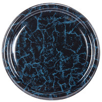 Sabert 818 18 inch Black Marble Round Catering Tray - 36/Case
