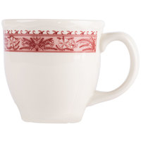 Homer Laughlin 11279209 Carolyn Fox Fern 13.5 oz. Scalloped Edge Mug - 12/Case