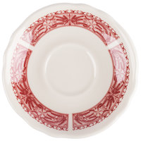 Homer Laughlin 5809209 Carolyn Fox Fern 5 5/8 inch Scalloped Edge Saucer - 36/Case