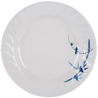 Blue Bamboo 9 1/4 inch Round Melamine Curved Rim Plate - 12/Pack