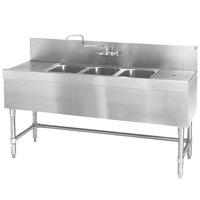 Eagle Group B6-3-LR-19 Spec-Bar 72 inch x 19 inch 20 Gauge Three Bowl Stainless Steel Underbar Sink with (2) 18 inch Drainboards