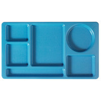 Cambro 915CW168 Camwear (2 x 2) 8 3/4 inch x 15 inch Blue Six Compartment Serving Tray - 24/Case