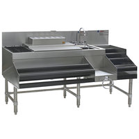 Eagle Group CCS-66-4 Spec-Bar 66 inch Stainless Steel Combination Cocktail Station with 18 inch Liquor Display