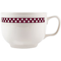 Homer Laughlin 1491791 Maroon Checkers 18 oz. Ivory (American White) Jumbo Cup - 12/Case