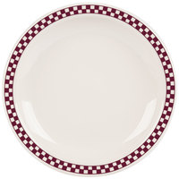 Homer Laughlin 2141791 Maroon Checkers 8 1/4 inch Ivory (American White) Narrow Rim Plate - 36/Case