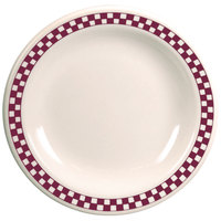 Homer Laughlin 2151791 Maroon Checkers 8 3/4 inch Ivory (American White) Narrow Rim Plate - 24/Case