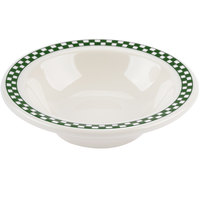 Homer Laughlin 1661708 Green Checkers 4 oz. Ivory (American White) Narrow Rim Fruit Dish - 36/Case