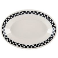 Homer Laughlin 1501636 Black Checkers 6 1/8 inch x 4 3/8 inch Ivory (American White) Rolled Edge Oval Platter - 36/Case