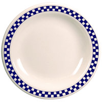 Homer Laughlin 2191790 Cobalt Checkers 11 7/8 inch Ivory (American White) Narrow Rim Plate - 12/Case