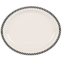 Homer Laughlin 2611636 Black Checkers 13 3/4 inch x 11 1/4 inch Ivory (American White) Narrow Rim Oval Platter - 12/Case