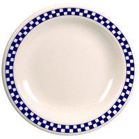 Homer Laughlin 2161790 Cobalt Checkers 9 3/8 inch Ivory (American White) Narrow Rim Plate - 24/Case