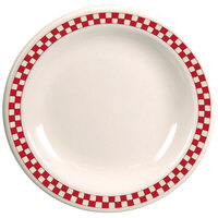 Homer Laughlin 2175413 Scarlet Checkers 10 1/2 inch Ivory (American White) Narrow Rim Plate - 12/Case
