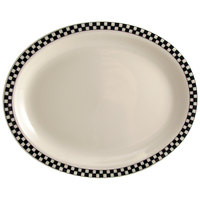 Homer Laughlin 1561636 Black Checkers 12 1/2 inch x 8 7/8 inch Ivory (American White) Rolled Edge Oval Platter - 12/Case