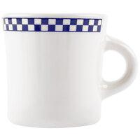 Homer Laughlin 9821790 Cobalt Checkers 13 oz. Ivory (American White) Jumbo Mug - 12/Case