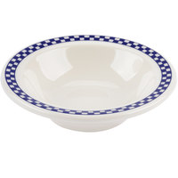 Homer Laughlin 1661790 Cobalt Checkers 4 oz. Ivory (American White) Narrow Rim Fruit Dish - 36/Case